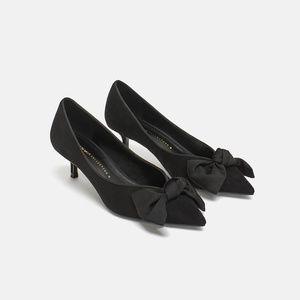 [LAST]NWT Zara Size 6 Kitten Heel Bow Pointy Heels